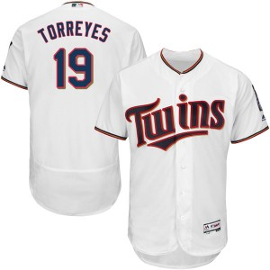 Men's Majestic Minnesota Twins Ronald Torreyes Authentic White Flex Base Home Collection Jersey